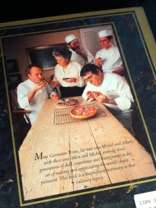 The back cover, featuring Michel Albert roux with their sons Alain & Michel roux jnr