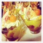 Great for canape parties. Here I made them in espresso cups, garnished with physalis & figs.