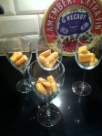 Get your chosen desserts glasses & break up 2 sponge fingers in each.