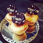 Tiramisu cupcakes with espresso syrup shots.
