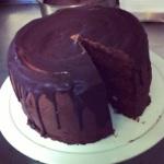 Dark chocolate fudge cake.