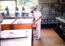 A very Young me working in the college kitchens at Cassio college, where I studied bakery from 1984-86.
