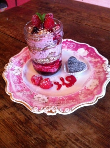 Cranachan, Berry loveliness with whisky and cream, here I used some fab quilted Jars to serve.