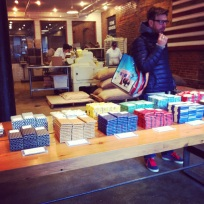 The Mast Brothers factory and shop, I was mesmerised by the smells, flavours and feel of the place.