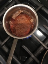 Boil a small amount of maple syrup and mixed spice.